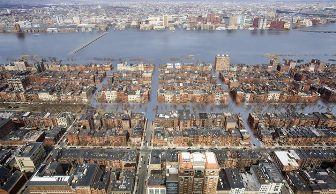 The Back Bay in Boston under 12 Feet of Sea Level Rise