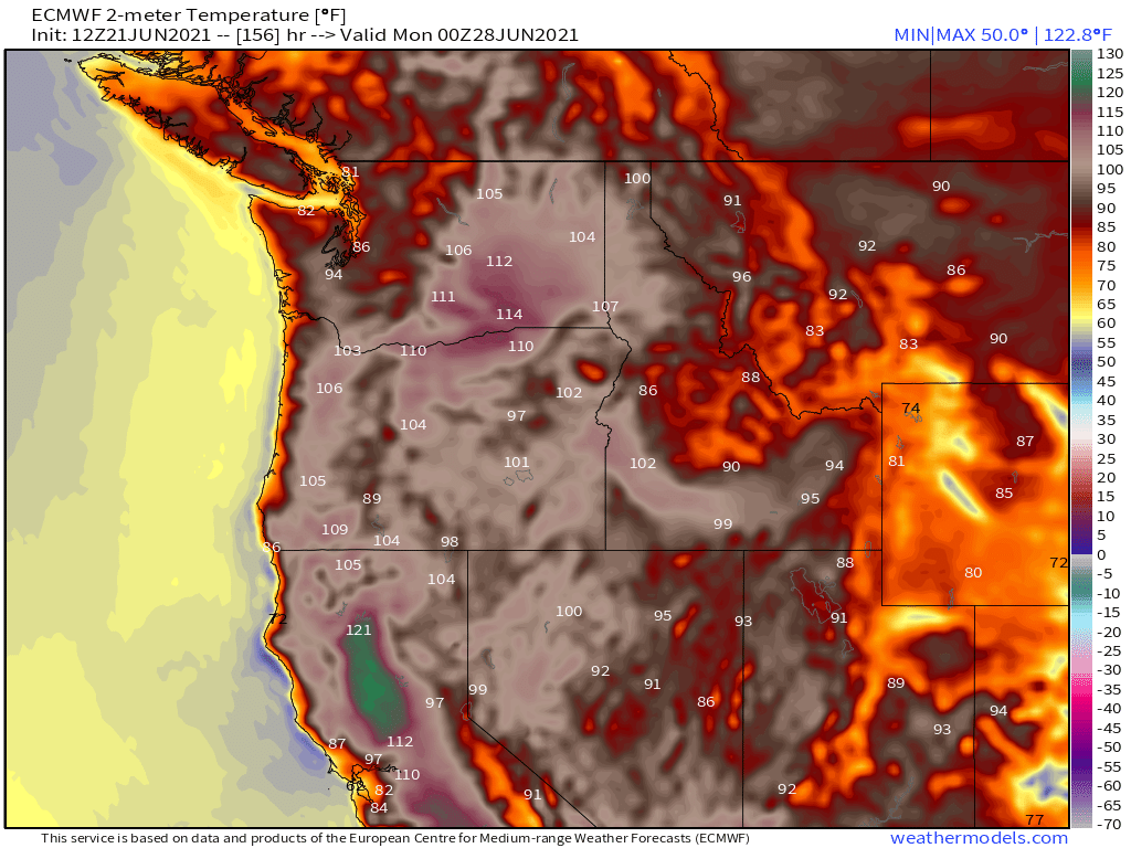 Heat Dome over Pacific Northwest, Summer 2021